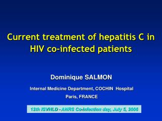 current treatment of hepatitis c in hiv co-infected patients
