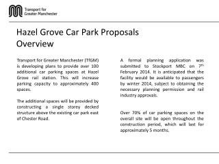 Hazel Grove Car Park Proposals Overview
