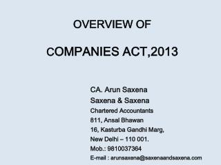 OVERVIEW OF C OMPANIES ACT,2013