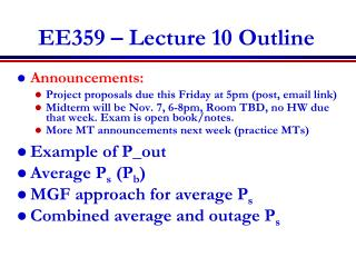 EE359 – Lecture 10 Outline