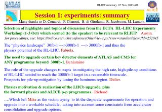 Session 1: experiments: summary