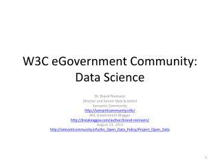 W3C  eGovernment  Community: Data Science