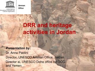 DRR and heritage activities in Jordan