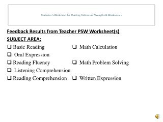 Evaluator's Worksheet for Charting Patterns of Strengths & Weaknesses