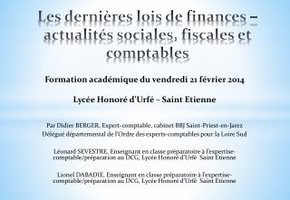 Les dernières lois de finances – actualités sociales, fiscales et comptables