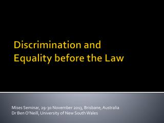 Discrimination and  Equality before the Law