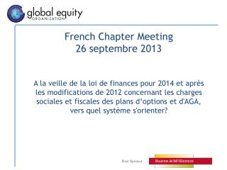 French Chapter Meeting 26 septembre 2013