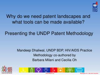 Why  do we need patent landscapes and  what tools  can be made available?  Presenting the UNDP Patent Methodology
