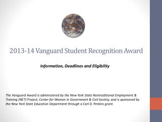 2013-14 Vanguard Student Recognition Award