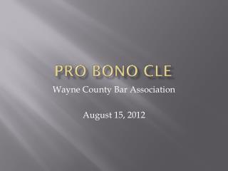 Pro  Bono CLE