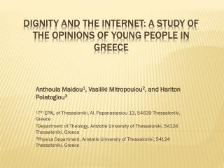 Dignity and the internet: a study of the opinions of young people in Greece
