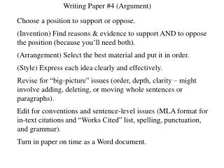Writing Paper #4 (Argument)