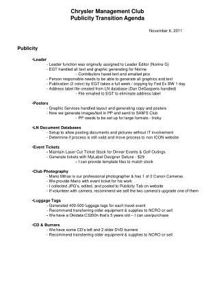 Chrysler  Management  Club Publicity Transition Agenda November  6, 2011