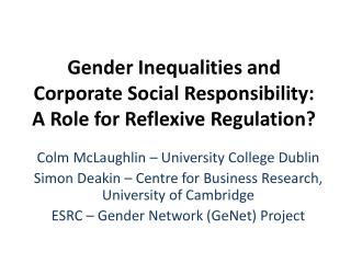 Gender Inequalities and Corporate Social Responsibility: A Role for Reflexive Regulation?