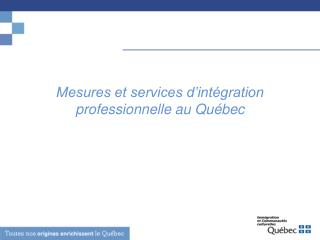 Mesures et services d'intégration professionnelle au Québec