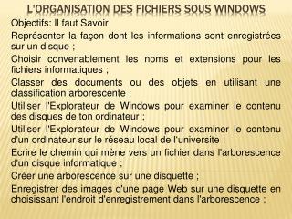 L'organisation des fichiers sous Windows