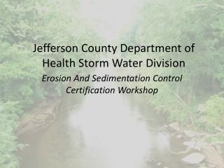 Jefferson County Department of Health Storm Water Division