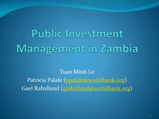 Public Investment Management in Zambia