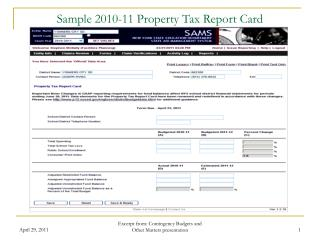 sample 2010-11 property tax report card