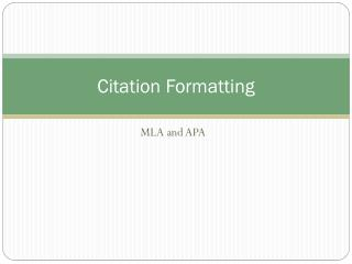 Citation Formatting