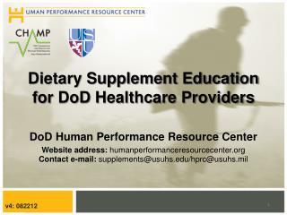 Dietary Supplement Education for  DoD  Healthcare Providers