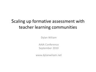 S caling up formative assessment with teacher learning communities
