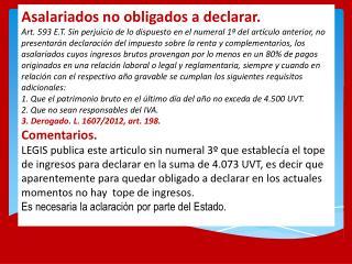 Borrador decreto reglamentario retención a asalariados de enero a marzo 2013