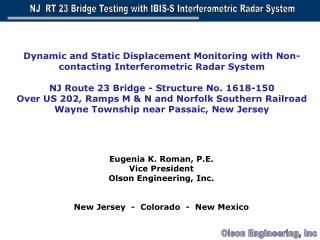 Eugenia K. Roman, P.E. Vice President Olson Engineering, Inc. New Jersey  -  Colorado  -  New Mexico