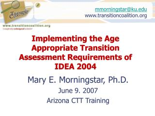 implementing the age appropriate transition assessment requirements of idea 2004