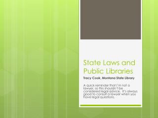 State Laws and Public Libraries