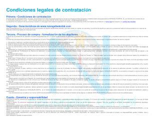 Condiciones legales de contrataci ó n Primera.- Condiciones de contratación
