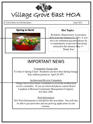 A Newsletter for Our Residents                                      April  2011