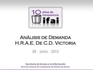 Análisis de  Demanda H.R.A.E. De C.D. Victoria