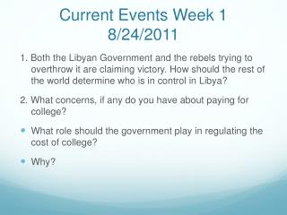 Current Events Week 1 8/24/2011