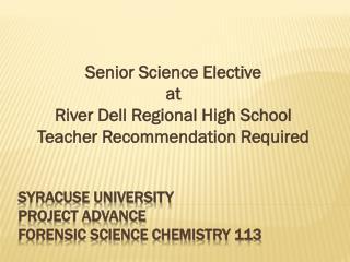 Syracuse University Project Advance Forensic Science chemistry 113