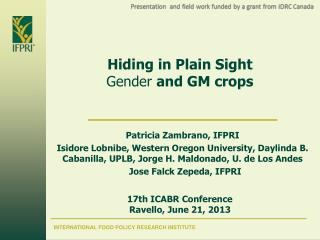 Hiding in Plain Sight  Gender  and GM crops