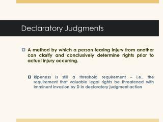 Declaratory Judgments