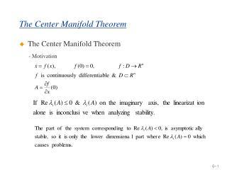the center manifold theorem