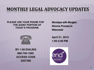 Monthly Legal Advocacy Updates