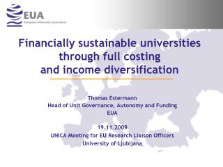 Financially sustainable universities through full costing  and income diversification