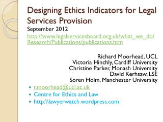 Designing Ethics Indicators for Legal Services Provision