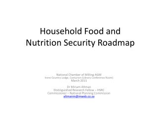 Household Food and  Nutrition  Security  Roadmap