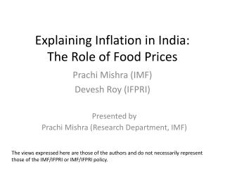 Explaining Inflation in India:  The Role of Food Prices