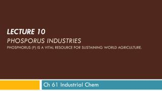 LECTURE  10  PHOSPORUS INDUSTRIES Phosphorus (P) is a  vital resource  for sustaining  world agriculture .