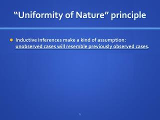 """Uniformity of Nature"" principle"