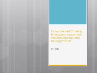 Computerized Charting, Emergency Assessment, Nursing Diagnosis and Nursing Process