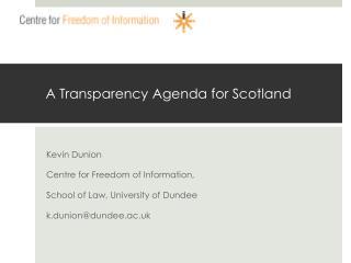 A Transparency Agenda for Scotland