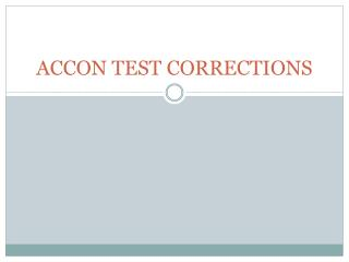 ACCON TEST CORRECTIONS