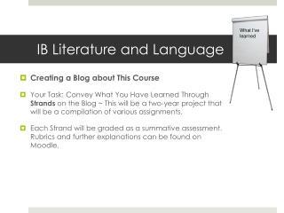 IB Literature and Language