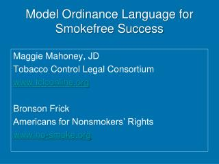 Model Ordinance Language for  Smokefree Success